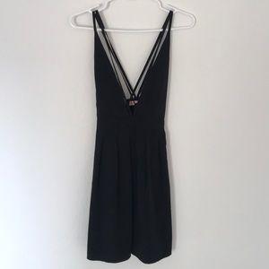 ASOS Black Skater Plunge Dress